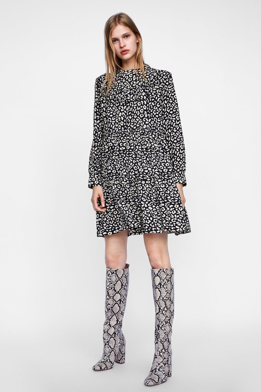5f6589442d Image 1 of RUFFLED ANIMAL PRINT DRESS from Zara