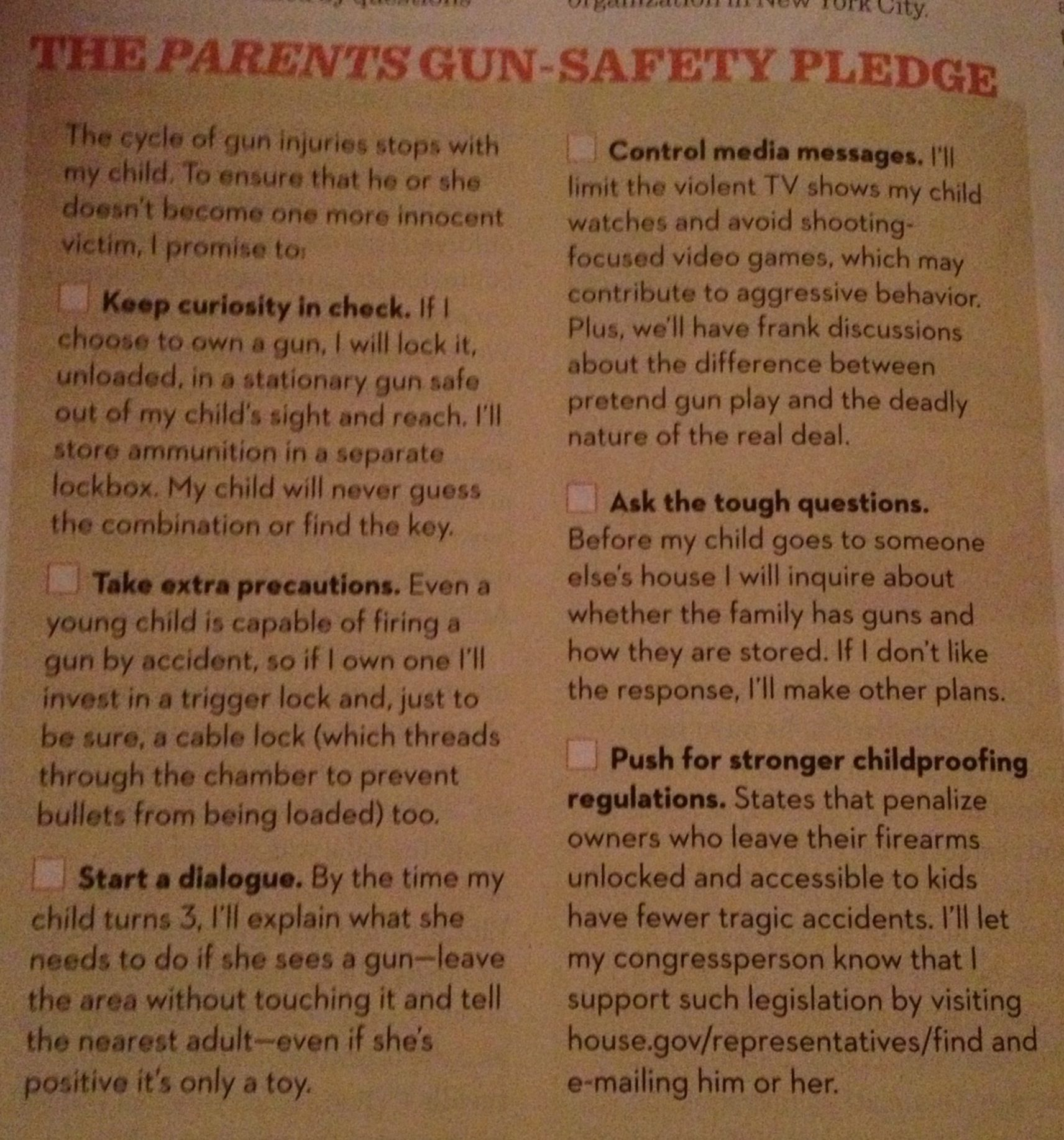 The Parents Gun-Safety Pledge | Health and Safety | Health