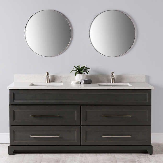 VanGo 72 In. Hampton Collection Grey Vanity With Quartz