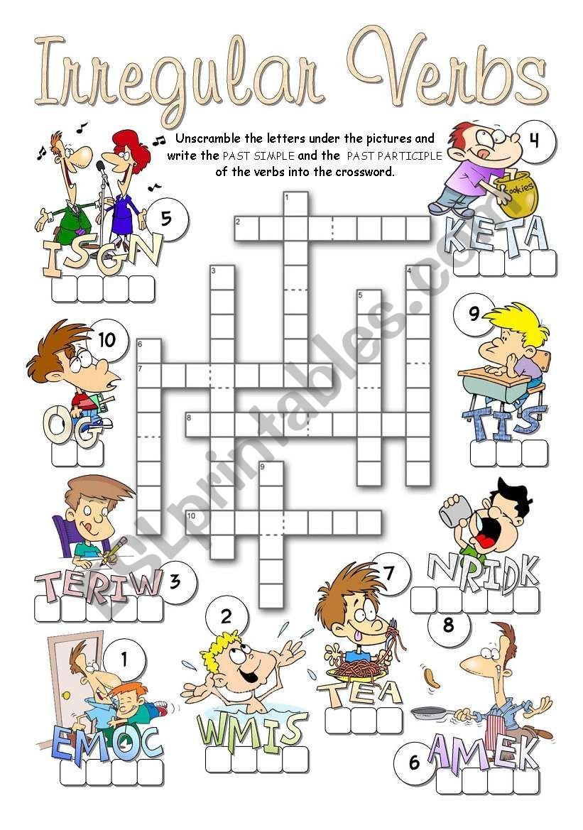 A Crossword To Revise Irregular Verbs Infinitive Past Simple Past Participle Answers Included In T Sports Crossword Crossword English Worksheets For Kids