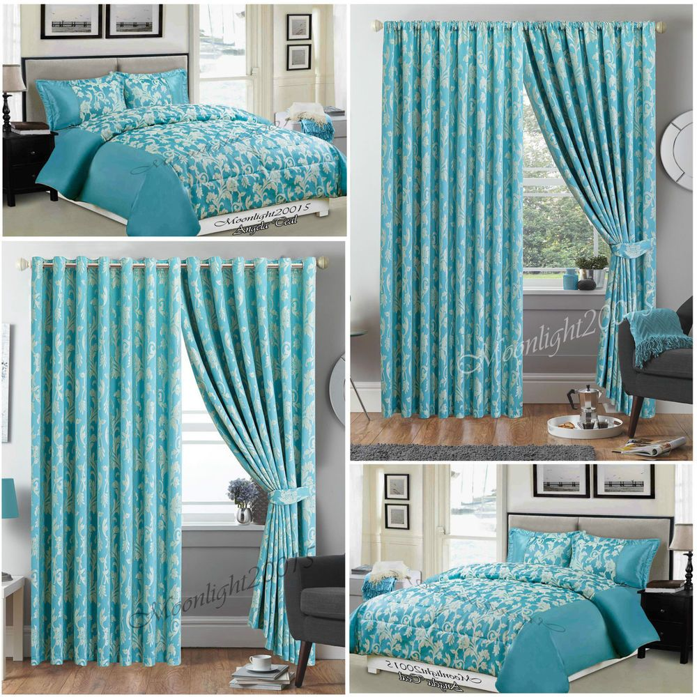 Luxury 3 Pc Piece A Teal Comforter Set Bedspread With Matching Curtains Comforter Sets Bed Spreads Linen Bedding Natural