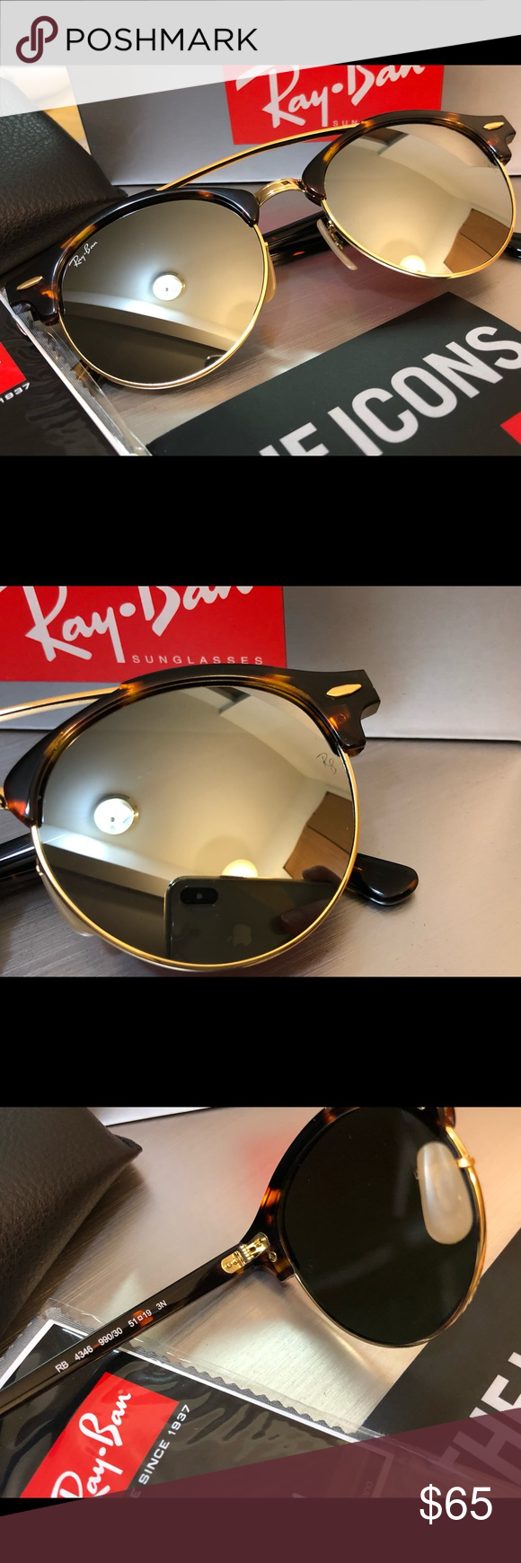 ab89d661bf New Ray-Ban CLUBROUND DOUBLE BRIDGE RB4346 New Ray-Ban CLUBROUND DOUBLE  BRIDGE RB4346