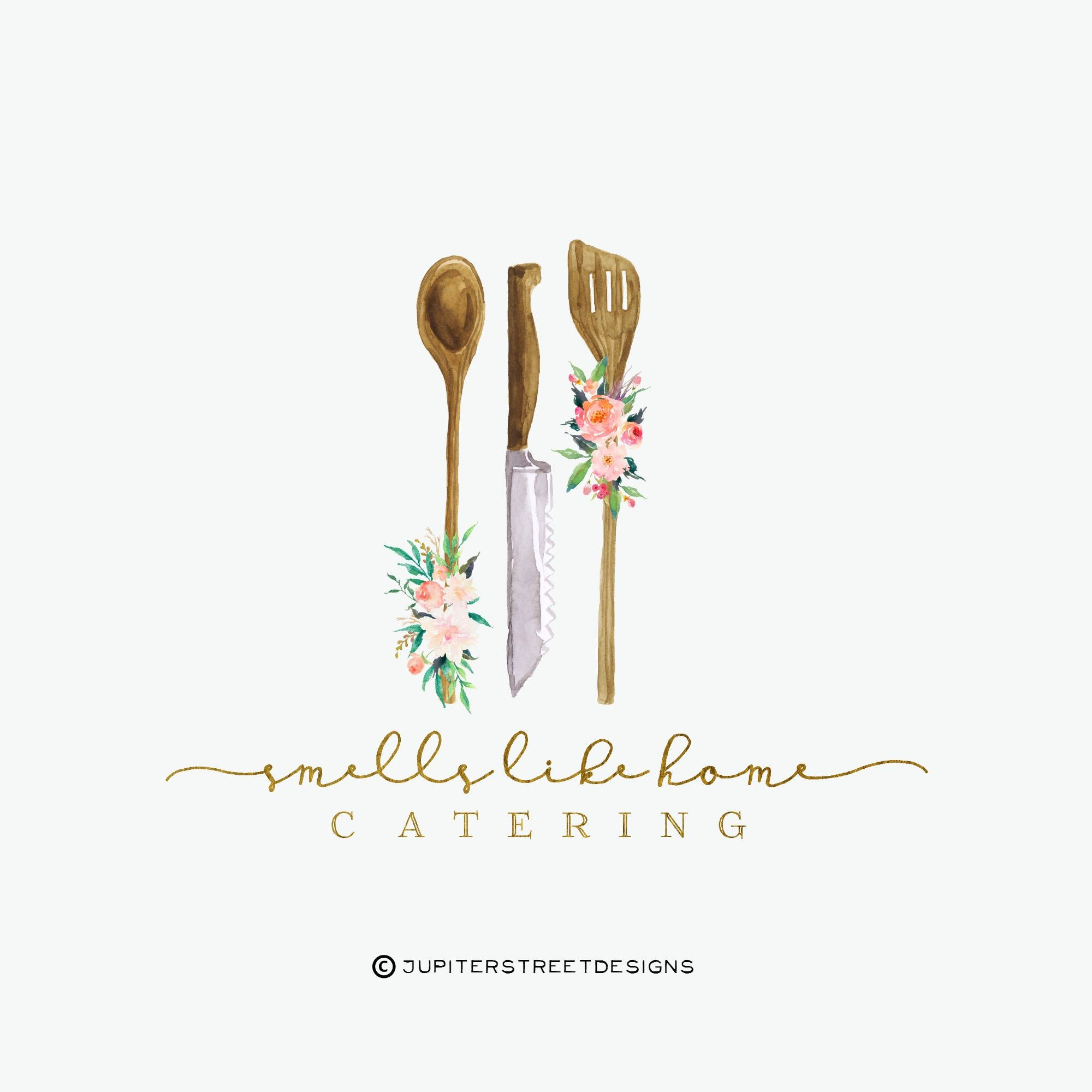 Kitchen Logo, Catering Logo, Utensil Logo, Flower Logo