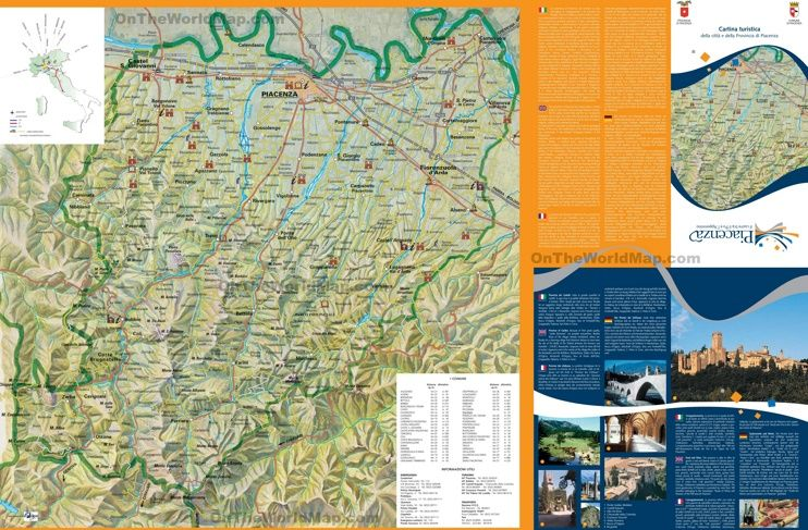 Province of Piacenza tourist map Maps Pinterest Tourist map