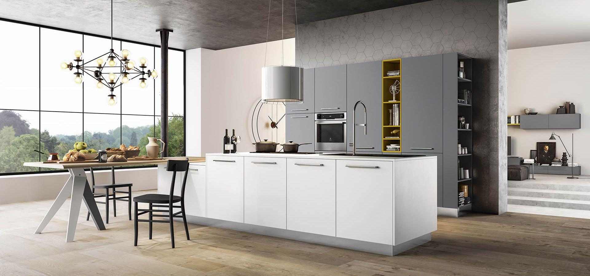 Cucina moderna time finiture bianco glass opaco grigio cenere opaco giallo ocra opaco top - Top cucina moderna ...