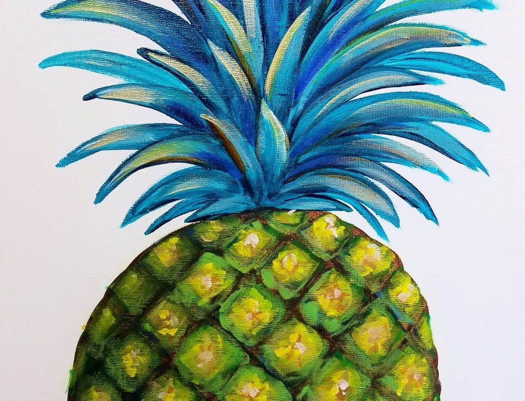Pineapple Acrylic Painting Canvas   Easy Step by Step ...