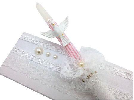 Vela decorada Batizado branco e rosa                                                                                                                                                     Mais