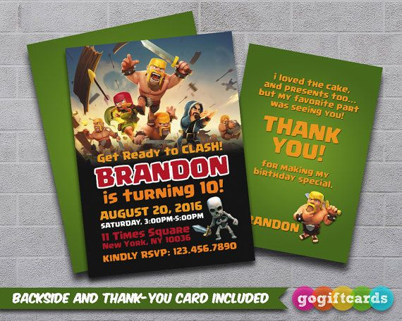 Clash Of Clans Invitation Clash Of Clans Invitation By GoGiftCards - How to make a birthday invitation in photoshop elements