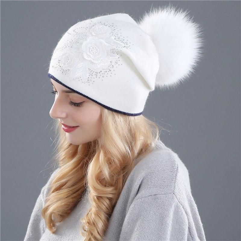 be94ca161c4 Xthree women s winter hat Rabbit fur wool knitted hat the female of the mink  hats for women beanies