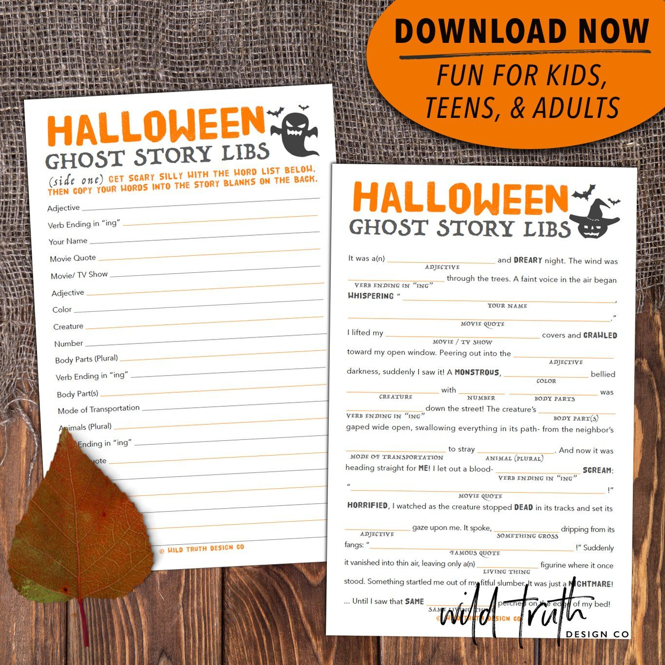 Printable Mad Libs Halloween Story For Kids Tweens Amp Teens