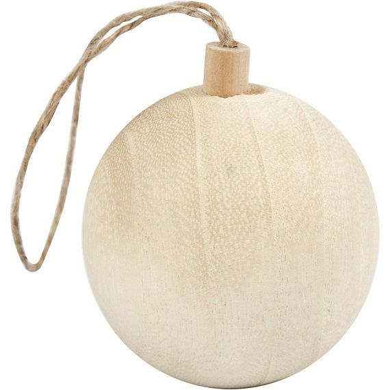 Small Wooden Bauble Plain - Christmas Craft Decorate Paint Tree Ornament -  4.8cm - Small Wooden Bauble Plain - Christmas Craft Decorate Paint Tree