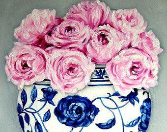 CUSTOM Still Life - Pink English Roses in a Ming Vase . . . . .16x20 Original OIL Painting by LARA Ginger Jar