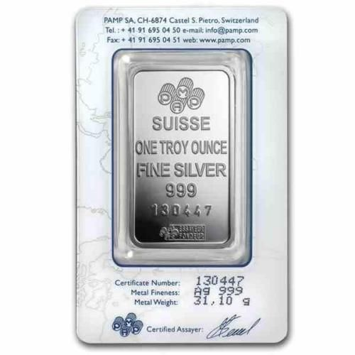 New 1oz Silver Pamp Suisse Fortuna Ingot Bar With Integrated Assay Certificate Fortuna Silver Bars Ingot