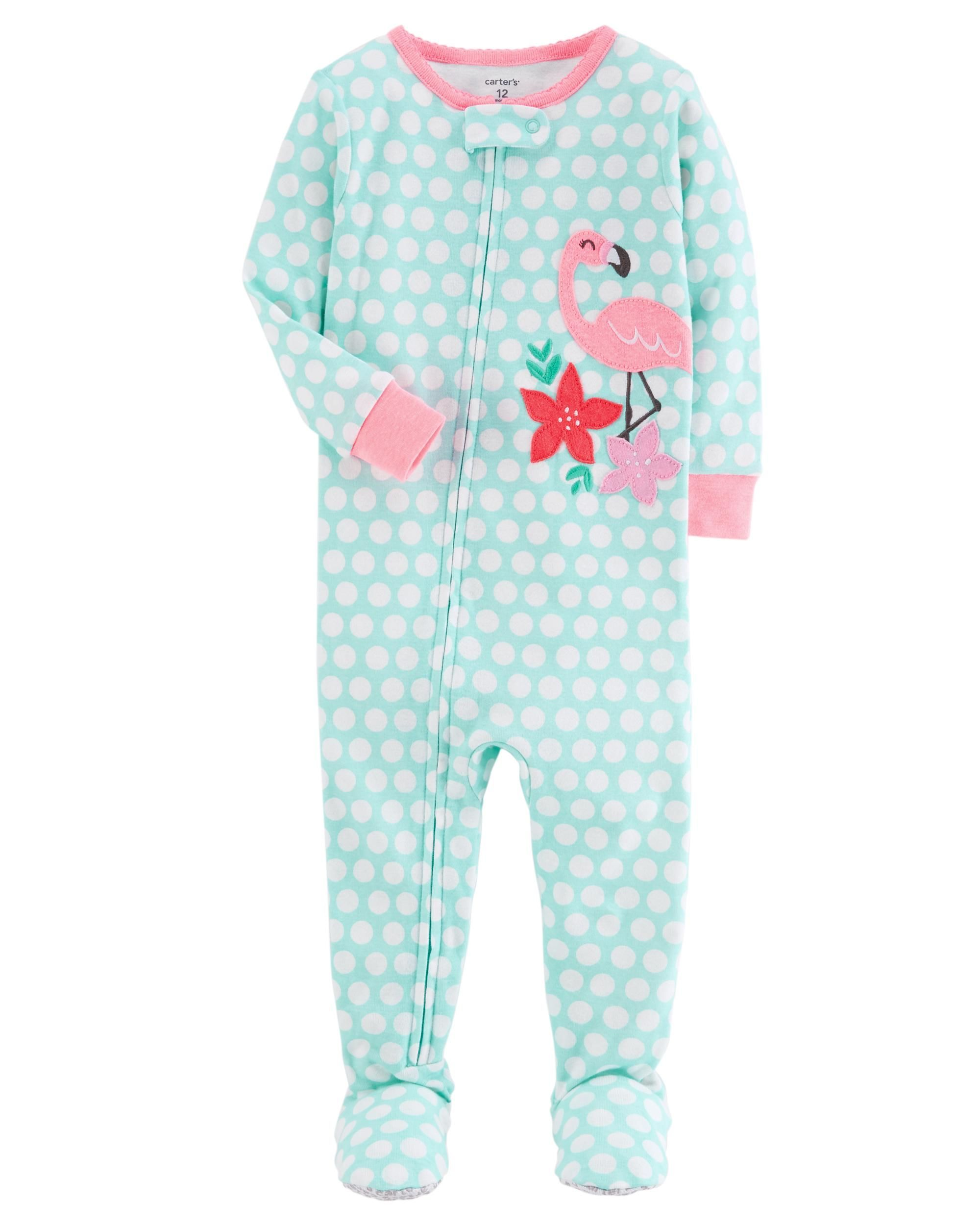 6227d144c 1-Piece Neon Flamingo Snug Fit Cotton PJs