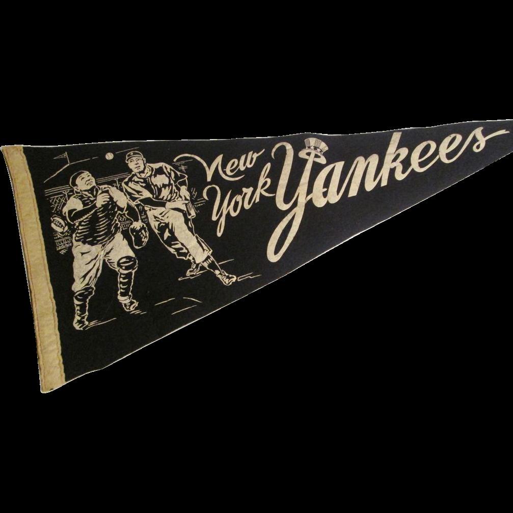 Rare New York Yankees Pennant Vintage 1950s Sports Baseball Souvenir Felt Yogi Berra Mickey Mantle 150 Http Www Pennants Vintage Baseball Pennants Pennant