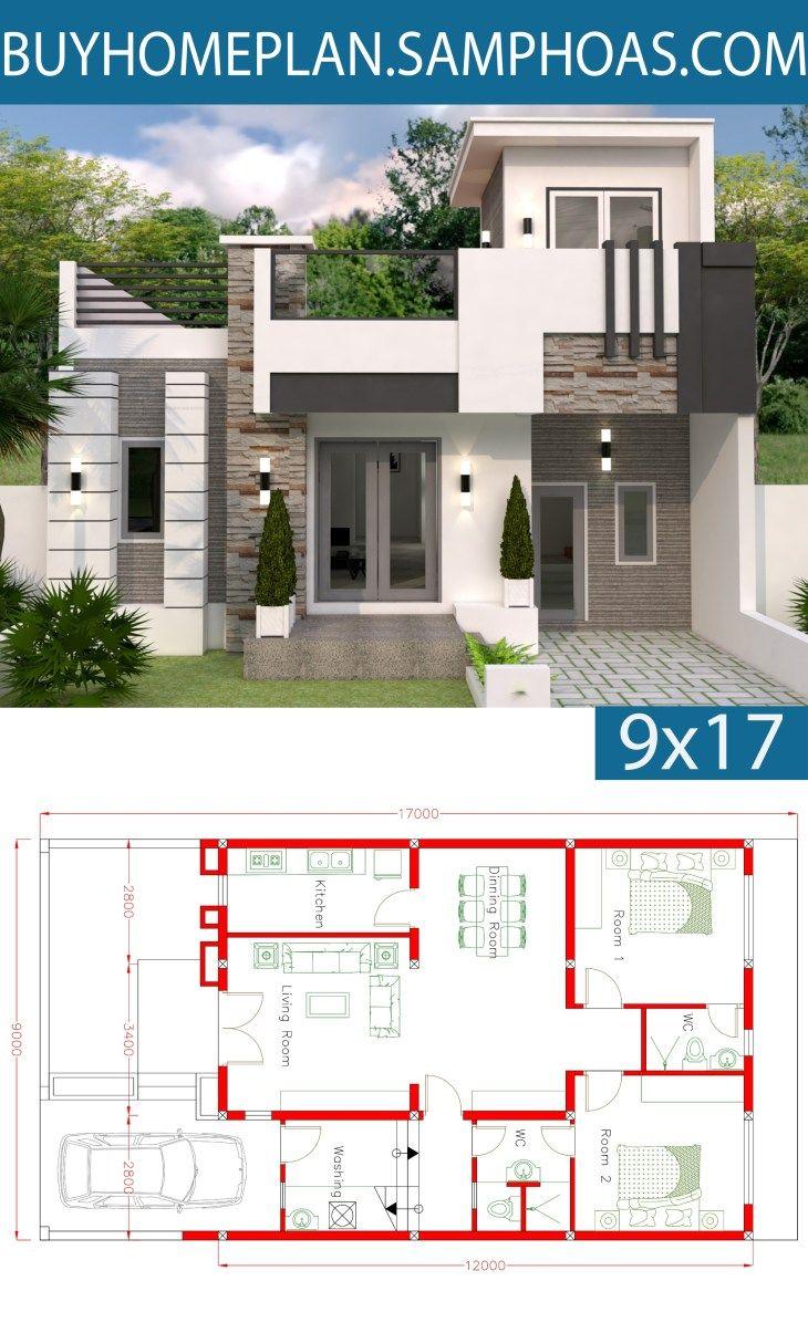 Home Design Plan 9x12m With 2 Bedrooms Samphoas Com Maison