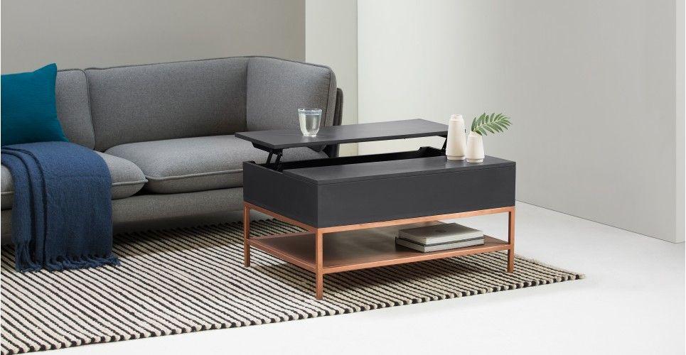 table basse fonctionnelle avec rangement lomond gris et cuivre made com