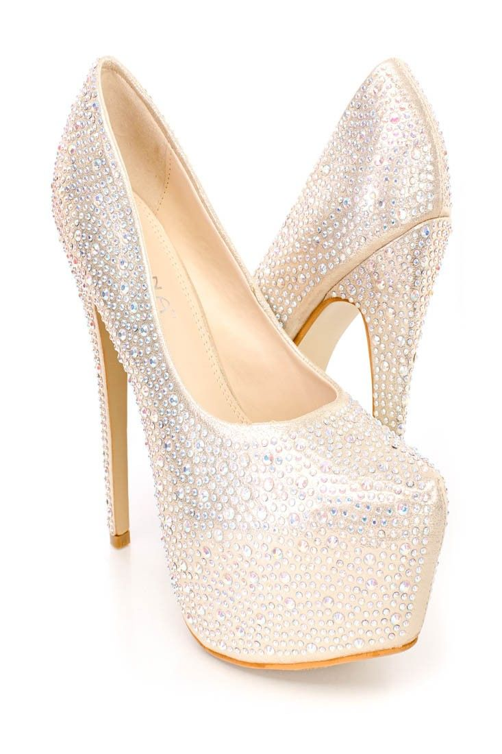 e50079b639 These sexy and stylish platform pump high heels feature a shimmer fabric  upper with rhinestones throughout, stitched semi pointed closed toe, scoop  vamp, ...