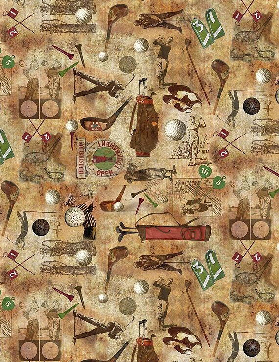 Vintage Golf Themed Fabric On Coffee Background Golfers