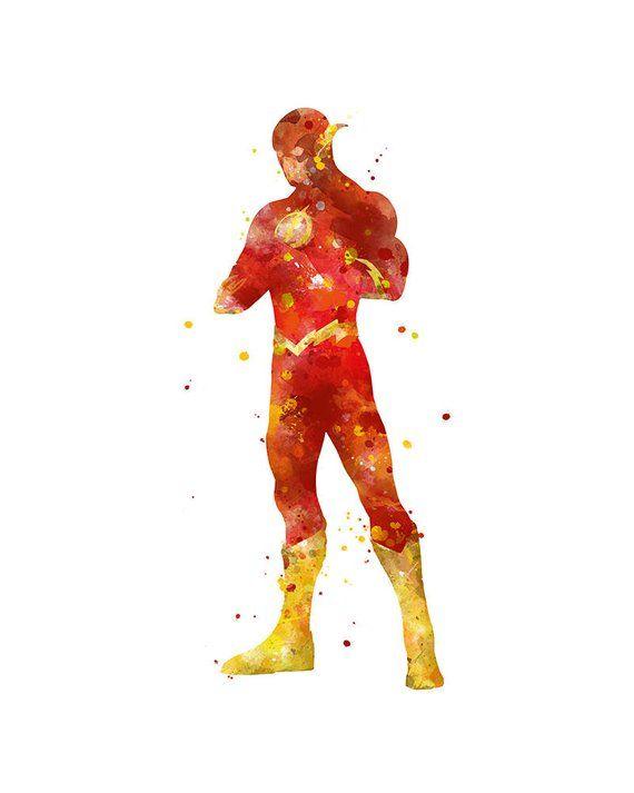 Flash Print The Flash Poster Watercolor Superhero Wall Art Etsy Superhero Wall Art The Flash Poster Etsy Wall Art