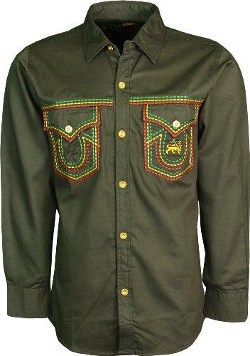 4ddabf11 Mens Rasta Shirt Full Front Button Closure Pure Cotton (Medium, Dark Olive)  Raw