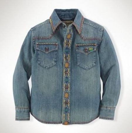 Ralph Lauren Western Denim Shirt is a cool Western-inspired shirt with bold Southwestern-inspired embroidery throughout.