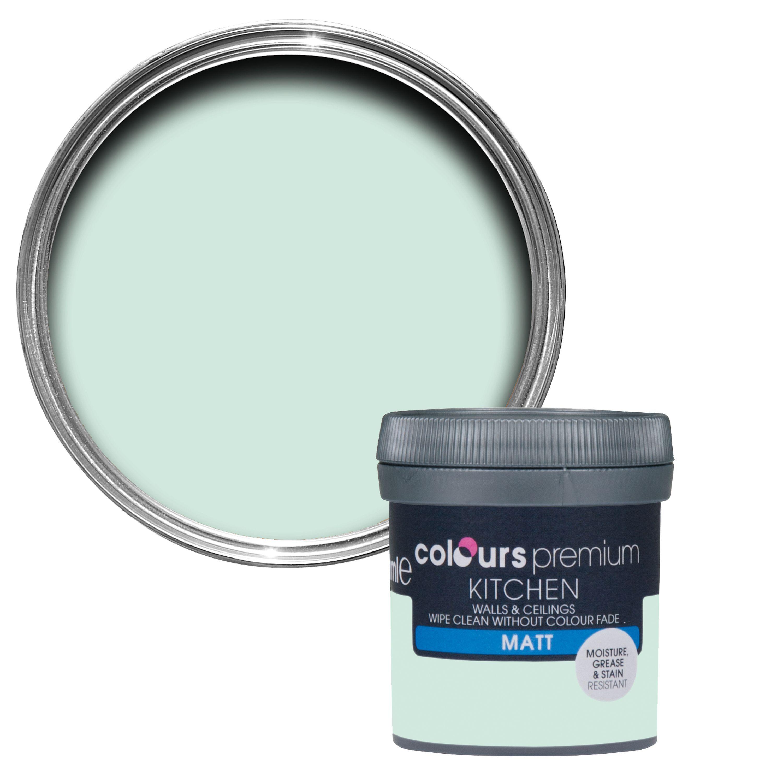 Colours Kitchen Duck Egg Matt Emulsion Paint 50ml Tester Pot Departments Diy At B Q Painted Ceiling Vaseline Bottle Diy Painting
