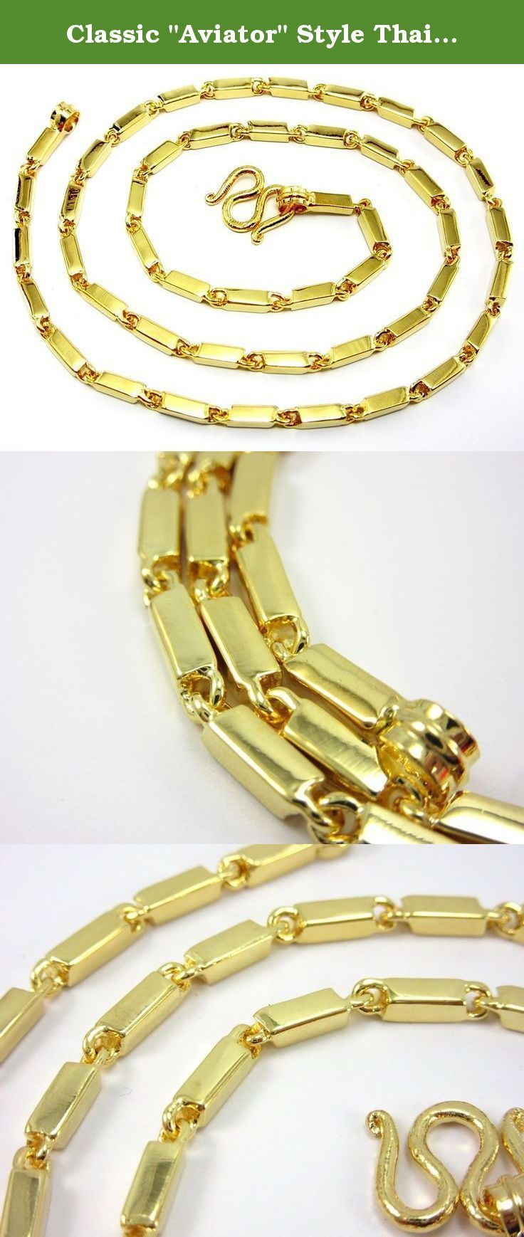 Classic Aviator Style Thai Barlink 24k Gold Plated 20 Baht Chain