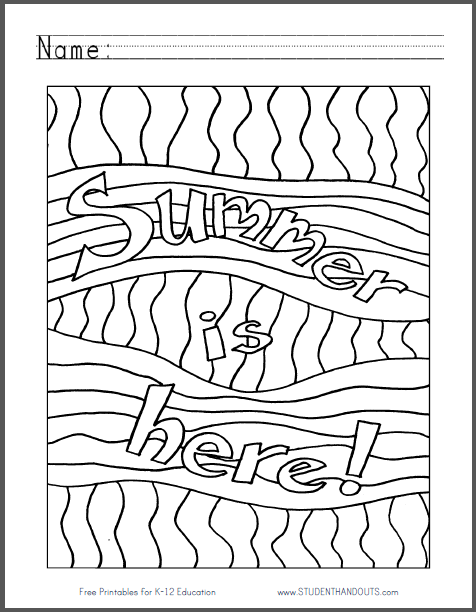 End Of The Year Coloring Pages : coloring, pages, Summer, Coloring, Sheet, Print, File)., School, Pages,, Pages