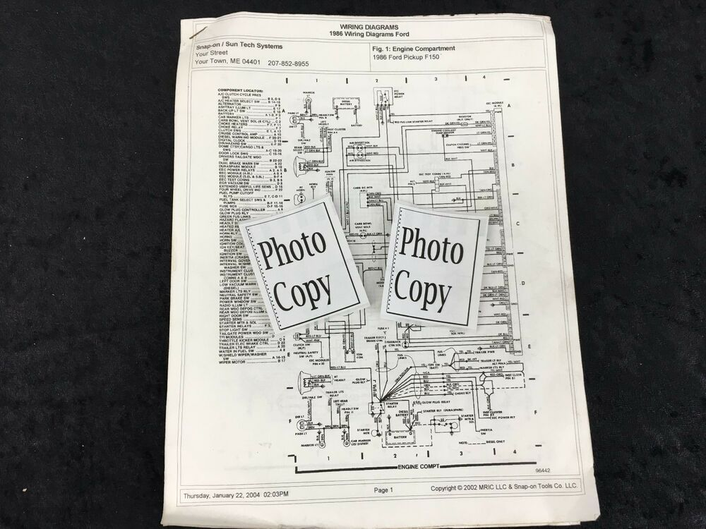 1986 Ford Pick Up F 150 Wiring Diagrams Photo Copy Ford Pickup Ford Tech Systems