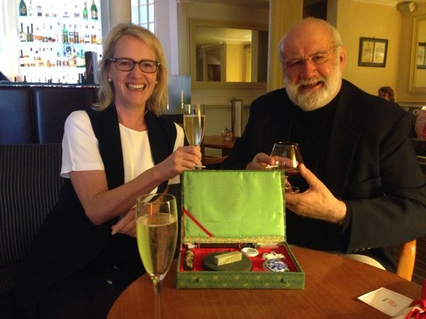 Toasting the upcoming launch of the book in November with Allison & Busby Publishing Director Susie Dunlop