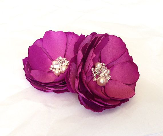 Orchid Satin Flower Pearl and Crystal by TreasuredMemoryLane