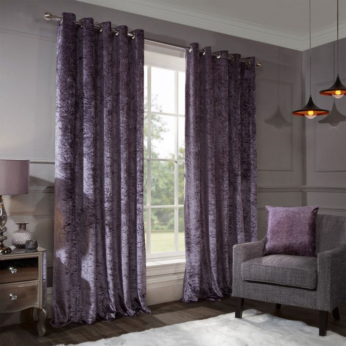 Allure Mauve Crushed Velvet Eyelet Curtains (With Images