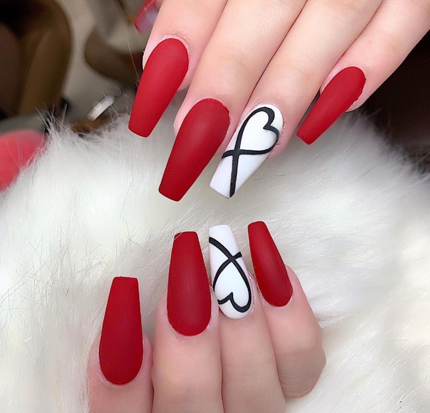 Makeup And Age In 2020 Red And White Nails Red Acrylic Nails