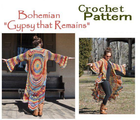 Bohemian Hippie Sweater Crochet PATTERN-- Gypsy that Remains- Stevie ...