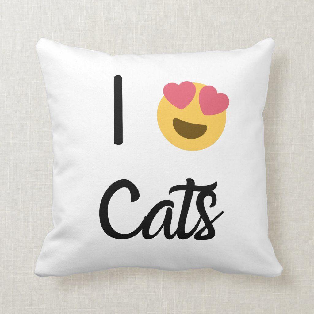 I Love Cats Heart Throw Pillow
