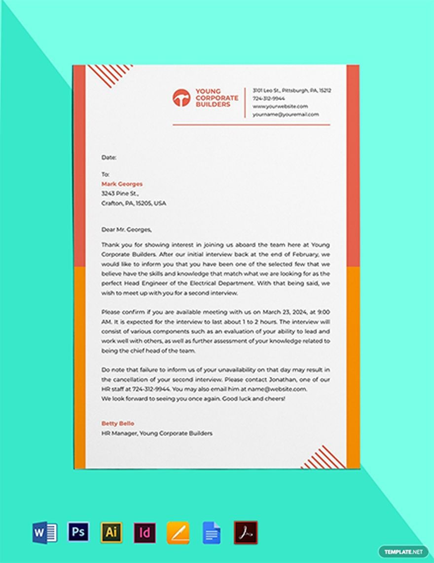 Second Interview Invitation Template Google Docs Illustrator Indesign Word Apple Pages Pdf Template Net Interview Invitation Invitation Template Engagement Invitation Cards