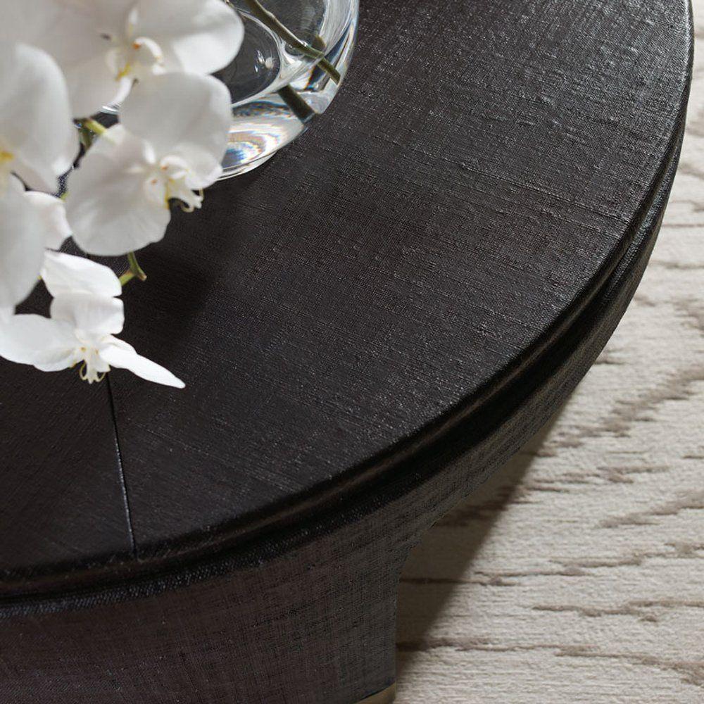Constanta regency black raffia round gold coffee table