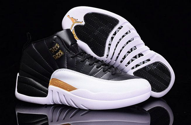 Authentic Air Jordans 12 XII Black White Golden Basketball Shoe for Sale