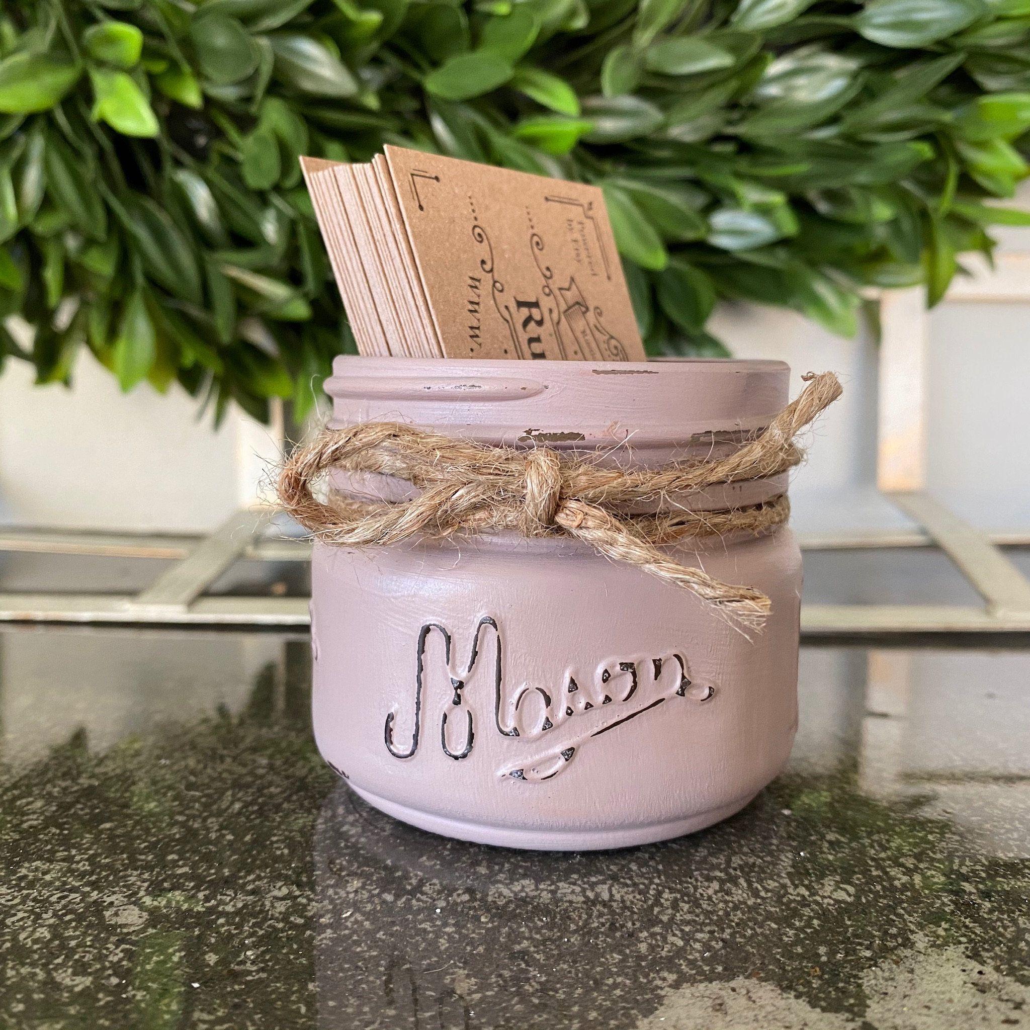 Business card holder dusty mauve short mason jar
