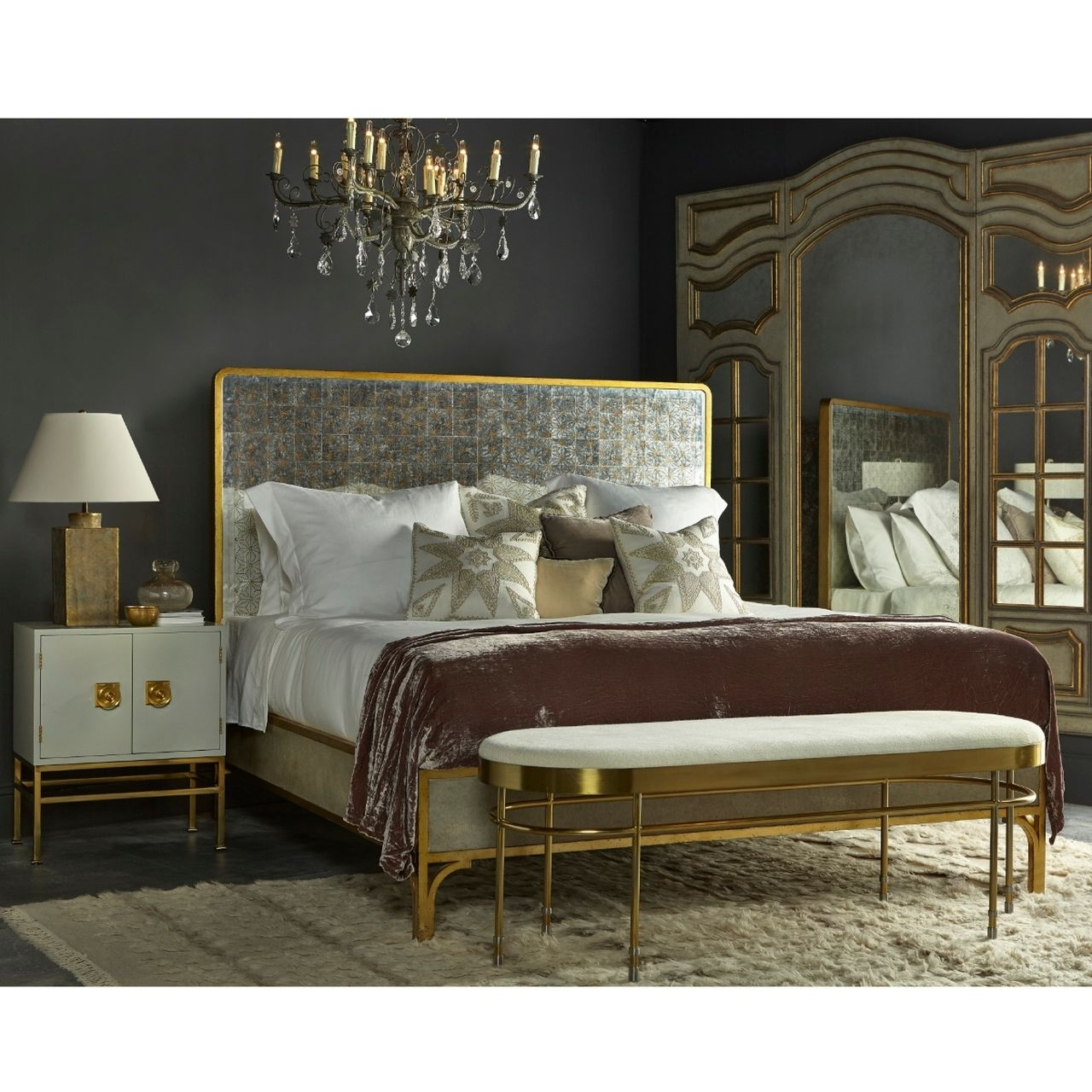 Gilded Star Mirror + Gold Metal Queen Bed Frame