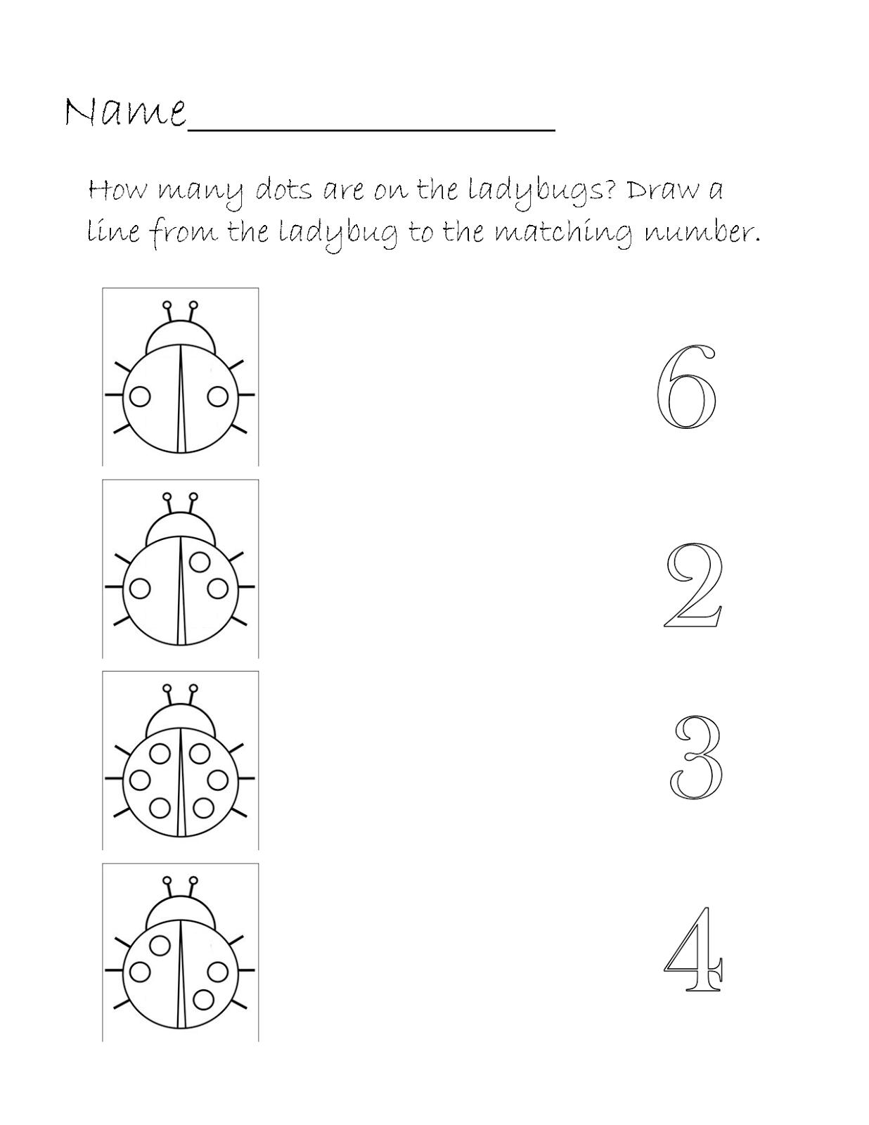 worksheet Number Matching Worksheets printable homeschool ladybug number match worksheet worksheet