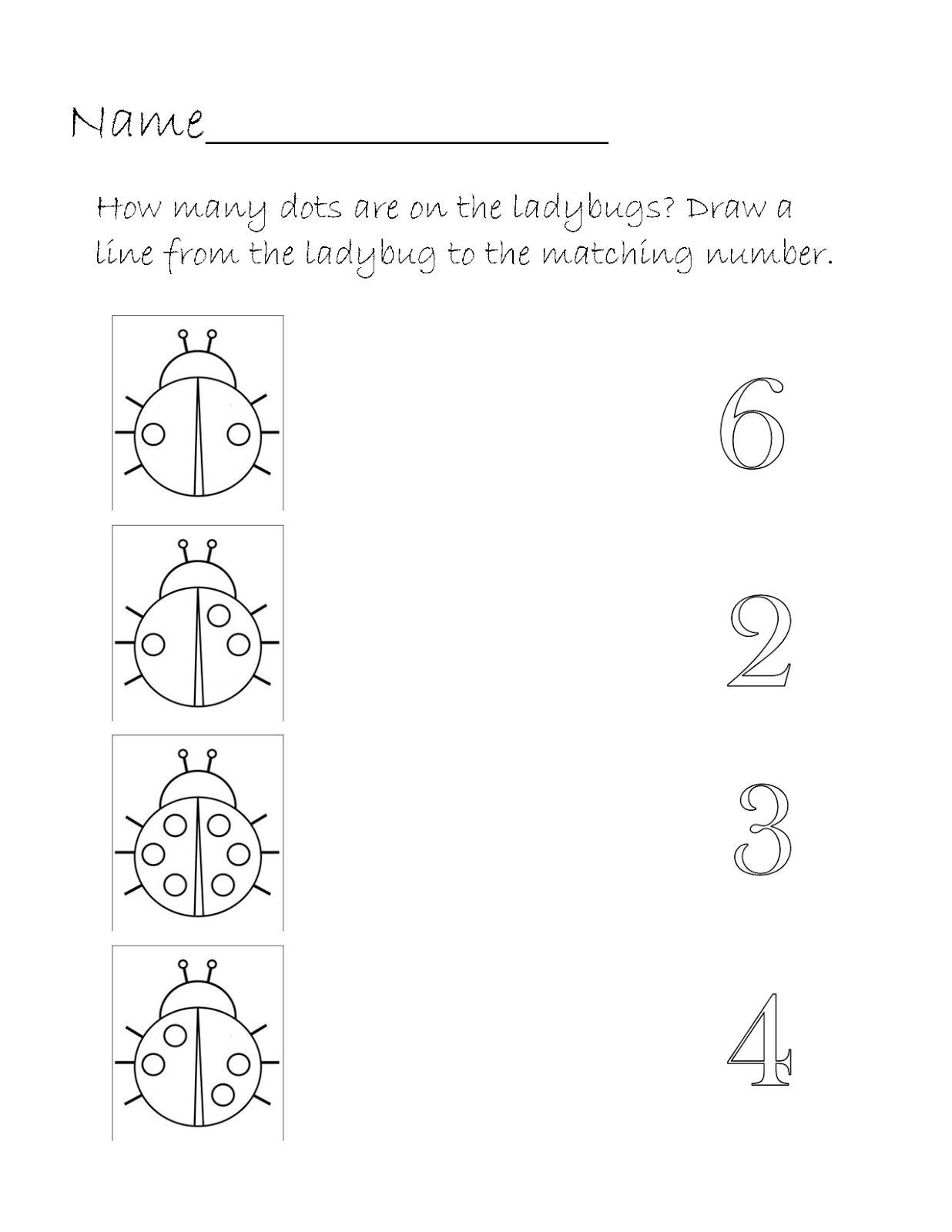 Printable Homeschool Ladybug Number Match Worksheet
