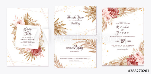 Wedding Invitation Template Set With Brown And Peach Dried Floral And Leaves Decoration Botanic Card Design Concept Buy This Stock Vector And Explore Similar