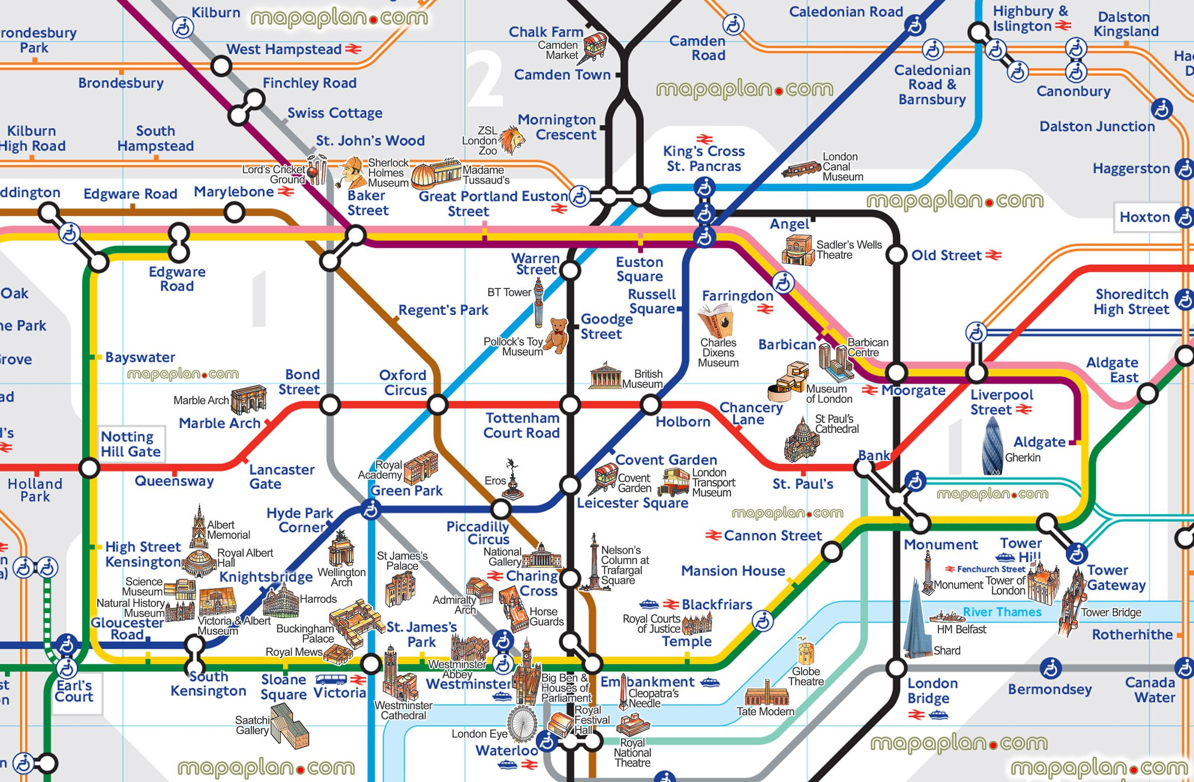 london tube attractions underground stations plan main points – Map Of London Tourist Sites