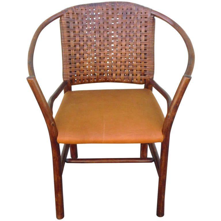 1930u0027s Old Hickory Barrel Back Side Chair W/ Leather Seat | 1stdibs.com