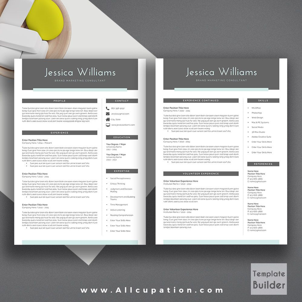 2 Page Resume Format Modern Resume Template Cover Letter 123 Page Template