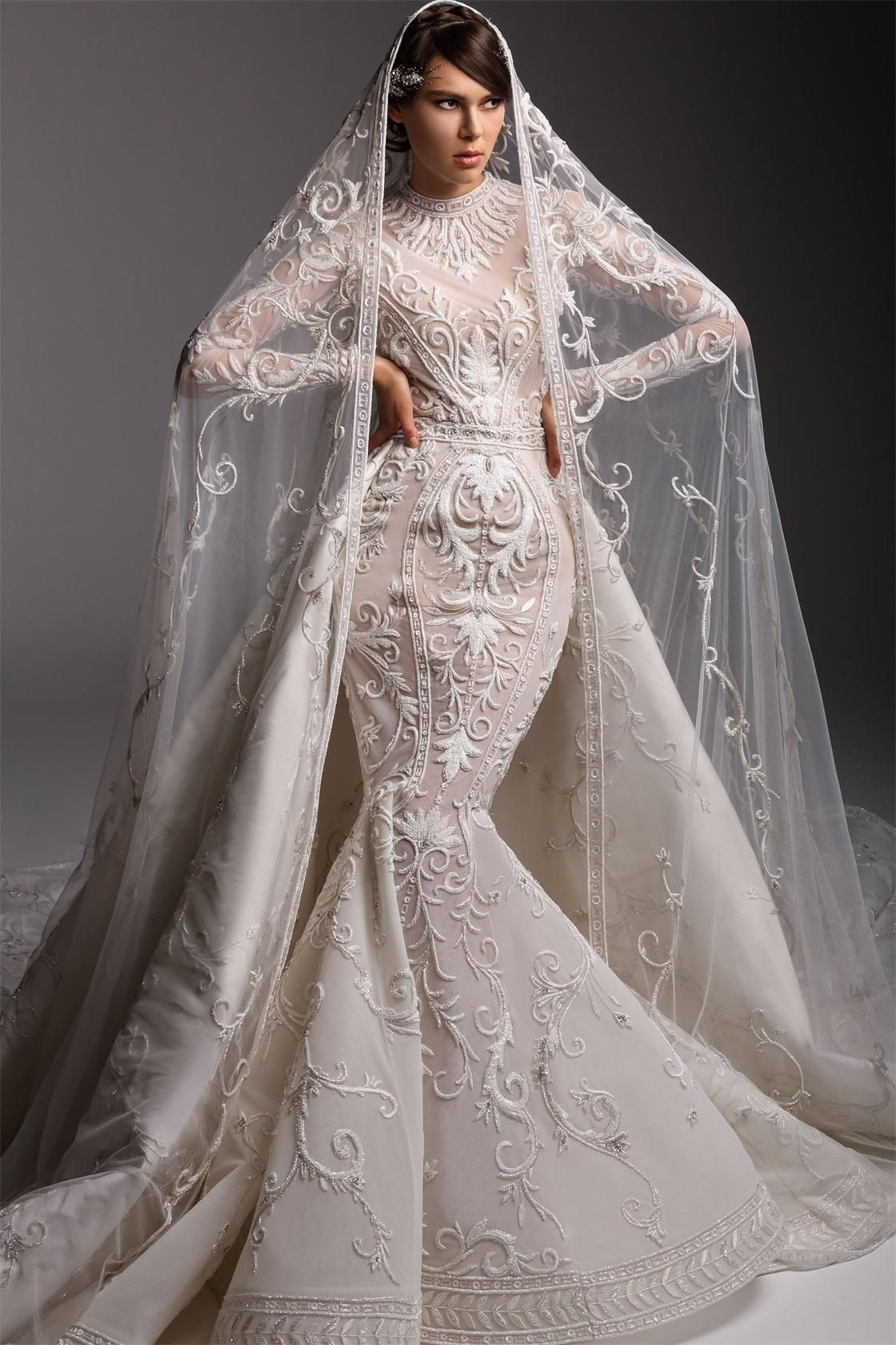 2019 Arabic Mermaid Wedding Dresses Dubai Jewel Neck Sweep Train Long Sleeve Vestito Da Sposa Custo Wedding Dresses Amazing Wedding Dress Wedding Gowns Mermaid [ 1680 x 1120 Pixel ]