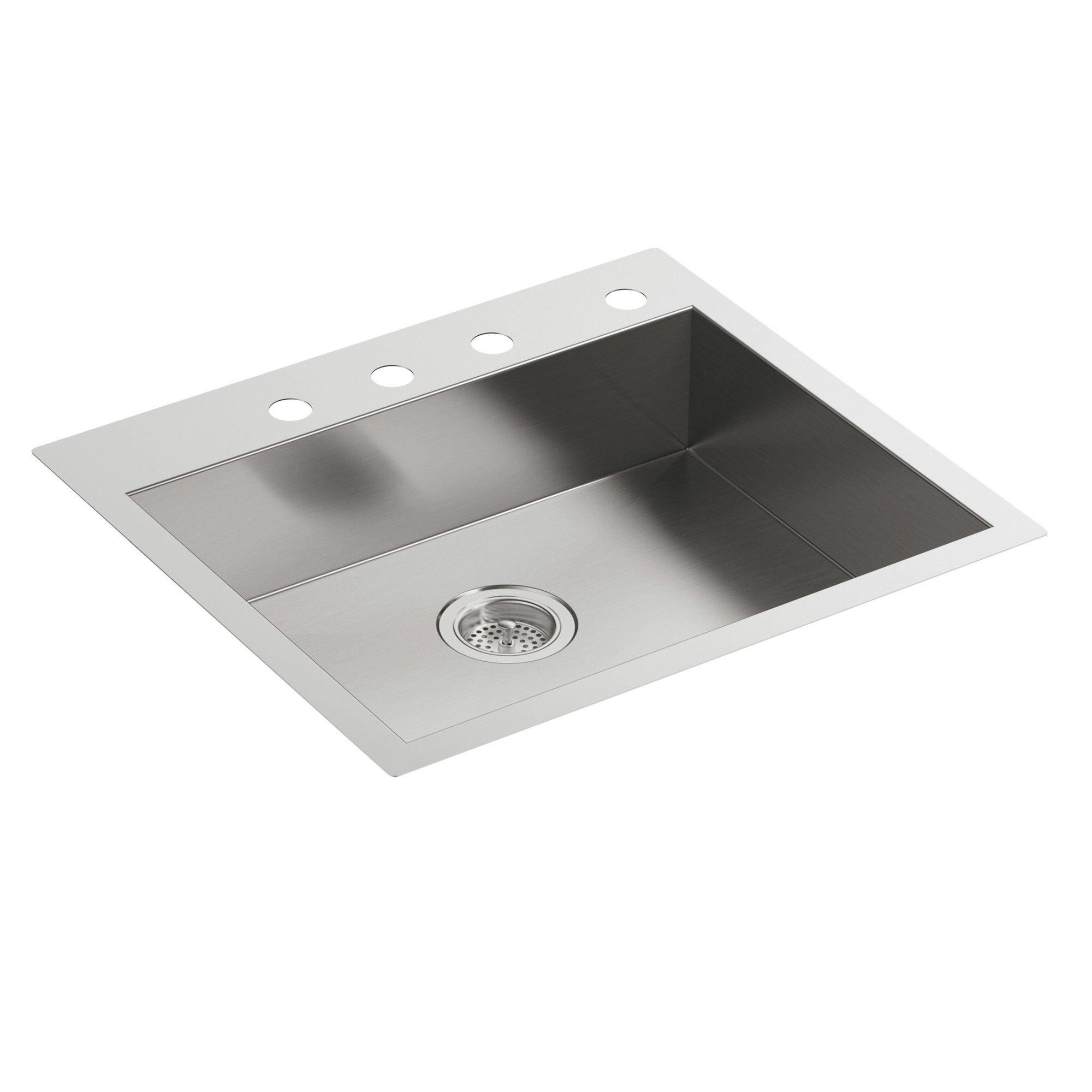Vault 25 L X 22 W X 6 5 16 Single Bowl Dual Mount Kitchen Sink With 4 Faucet Holes Sink Kitchen Sink Single Bowl Kitchen Sink