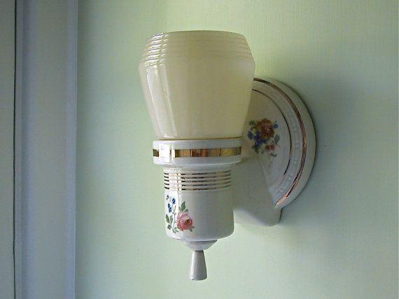 Vintage Porcelier Light Fixture Wall Mount With Custard
